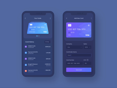 Manage Your Credit Cards fintech illustration animation atm add history credit card payment finance dark ui cryptocurrency crypto wallet blockchain bitcoin debit credit credit cards credit card banking mobile app