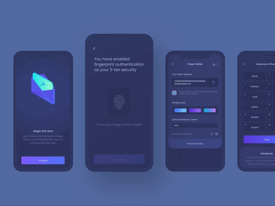Cryptowallet Security - Fingerprint Scan finance banking payment dark blockchain mnemonic secure security link magic illustration animation scan fingerprint wallet cryptocurrency crypto crypto wallet mobile app