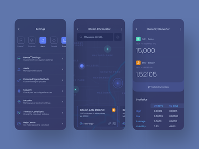 Qoinstack - Crypto Wallet Settings and Currency Converter gradient banking dark support security finance blockchain alerts settings currency converter currency location map cryptocurrency crypto wallet crypto bitcoin wallet money atm bitcoin