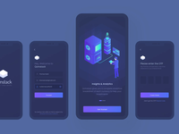 Qoinstack - Crypto Wallet Onboarding Screens sell exchange crypto exchange interaction finance onboarding cryptocurrency ios app mobile vector illustraion isometric illustration isometric dark ui blockchain security bitcoin crypto wallet crypto animation