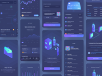 Qoinstack - Crypto Wallet Mobile App Design blockchain fintech finance gradient money payment night mode dark ui dark isometric ethereum crypto currency ios app mobile illustraion crypto wallet crypto cryptocurrency bitcoin