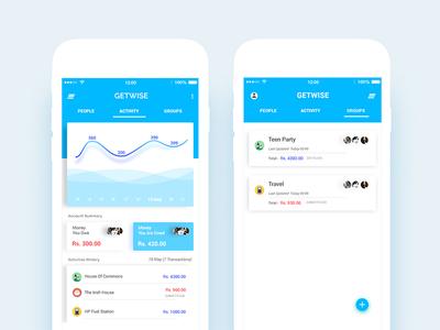 Expense Splitting App app mobile split ux ui money account groups analytics activities expense
