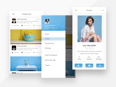 Social Feed App Concept white profile feed ui mobile minimal clean app social