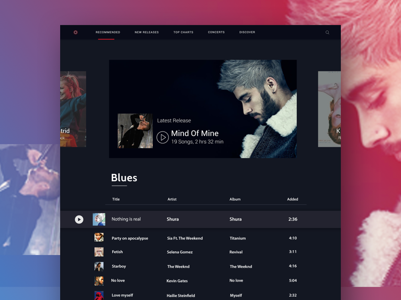 Playlist Manager with Dark Theme by Devyani bhati on Dribbble
