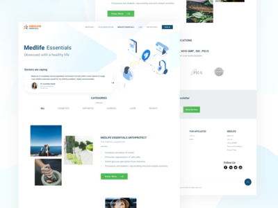 Medlife Essentials Landing Page ux ui health medical testimonials browse products landing