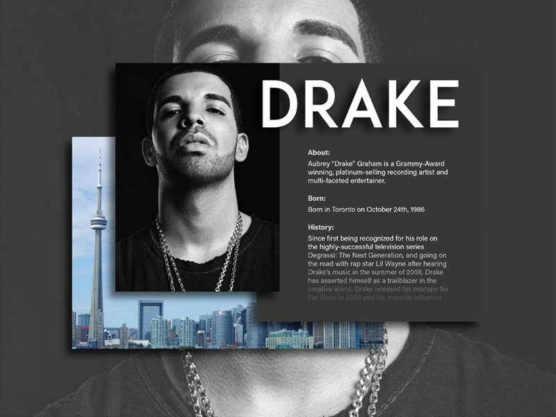 Daily UI - Day 6 - User Profile artist music rnb hiphop drake userprofile day6 dailyui