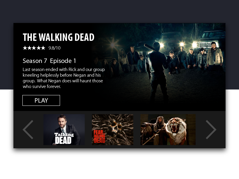 Day 25 - Daily UI - Tv App thewalkingdead tvapp dailyui day25
