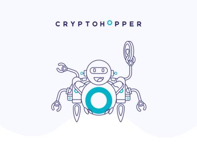Cryptohopper Automated Trading bot Illustration vector typography logo icon illustration design branding ui