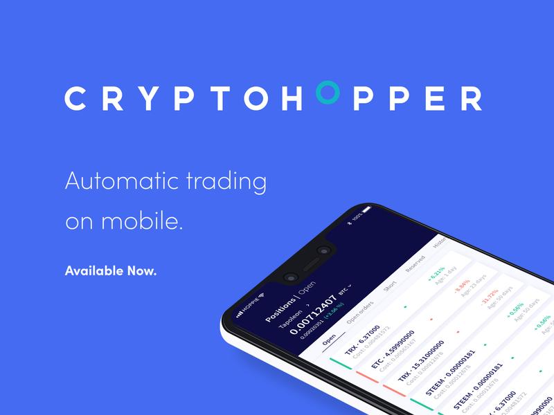 Cryptohopper Mobile App icon vector flat mobile app illustration ux design branding ui