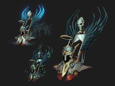 Helm of the true King game art illustration skull dark fantasy helmet design concept art concept king helm