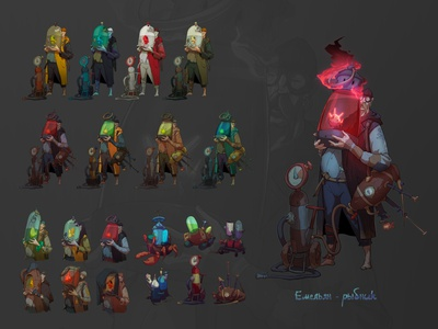 Emelyan Rybnik procreate magic andrewbzh story illustration fantasy dieselpunk dark fantasy fisherman concept art game art character design