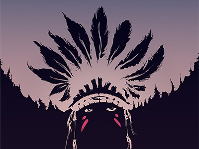 Indian Mo illustrator vector dark feathers sunset forest indian
