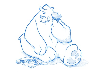Bear and Postman funny cartoon illustration letter hungry postman sketch bear