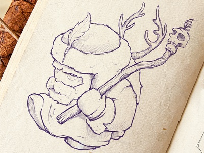 The Hunter Oluj Onkgor magic illustration deer horns feather skull hunter drawing sketch shaman