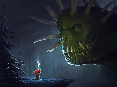 Monster dark magic art timelapse process video tutorial painting affinity photo monster
