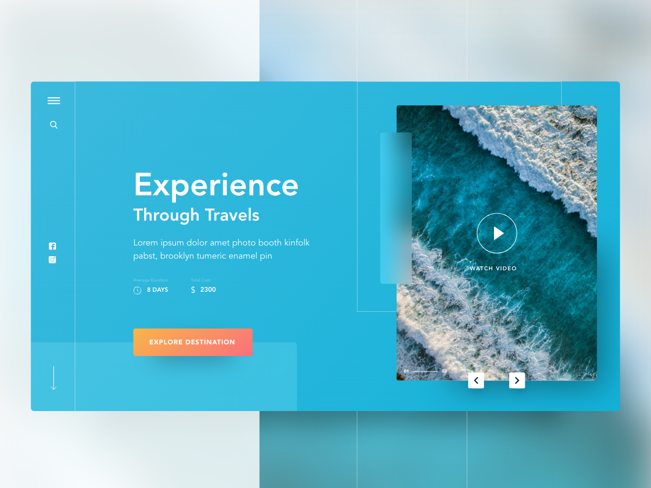 Travel website exploration page color minimal ocean travel ux-ui grid website flat web ui design clean adobe xd