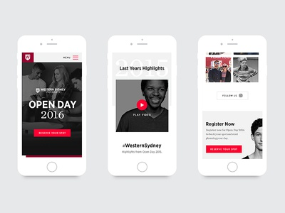 Western Sydney University - Open Day 2016 (Mobile) hero instagram white black ui website page landing responsive education student mobile