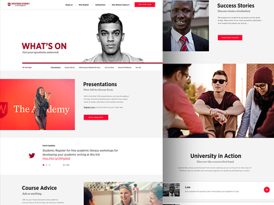 WSU - Content Page western university ui system sydney education diversity design content