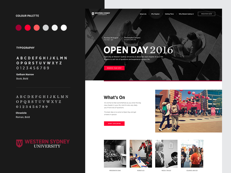 WSU: Open Day - Homepage + Brand Elements