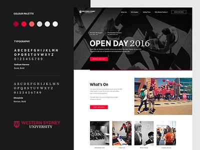 WSU: Open Day - Homepage + Brand Elements content design diversity education sydney system ui university western