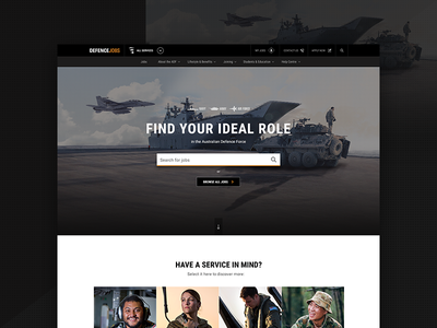 Defence Jobs - Tri-Service Homepage defence jobs design system component search homepage recruitment military