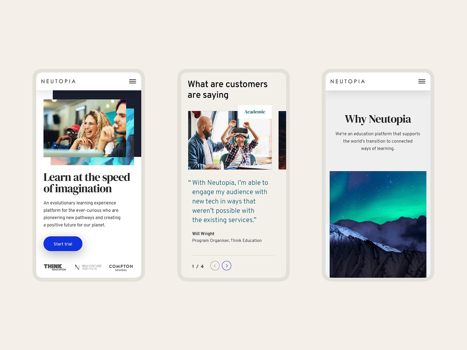 Neutopia - Responsive Screens for recent site re-design