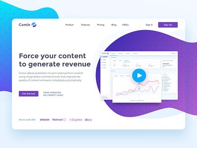 Comin landing page ui design uiux dashboard colorful landing webdesign web driму revenue tool ecommerce monetization monetize content widget comin