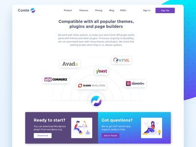Comin landing page plugin wordpress colorful tools ecommerce landing uiux web system monetize content widget marketing affiliate comin