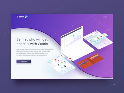 Comin System landing page impleum blockchain design uiux widget ecommerce commercialization webdesign system coming