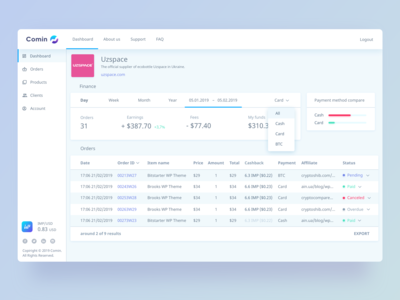 Comin System merchant dashboard