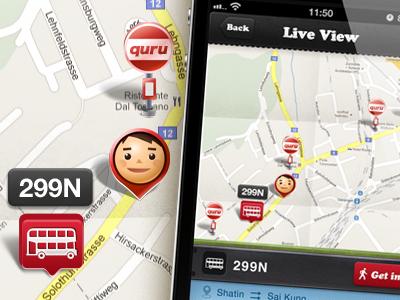 iphone app - Quru GUI ios apps iphone bus illustration car gui map pin