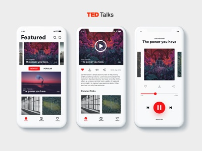 TED Talks UI redesign concept app player ui pause play audio player minimal featured home audio simple clean interface simple ux talks concept redesign ted phone ui  ux ui mobile