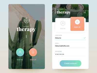 Daily UI #001 therapy plant ui login cactus sing in sign up 001 daily ui