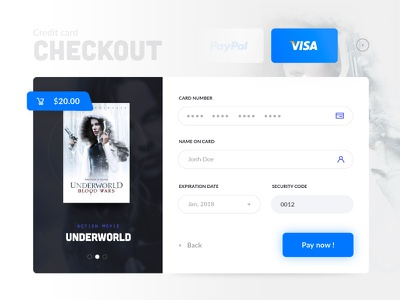 Daily UI #002 blue pay checkout credit card movie daily ui 002