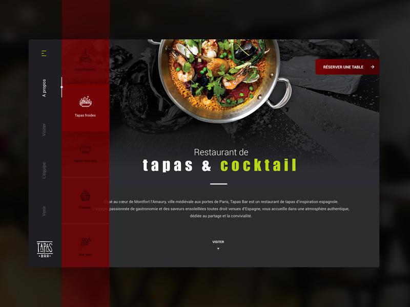 Daily UI #003 daily ui 003 food vertical navigation red bar restaurant tapas landing page