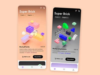 Bricks 3d toys dailyui mobile filter e-commerce app
