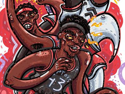 Spicy P portrait cartoon character pascal siakam nba finals raptors nba illustration