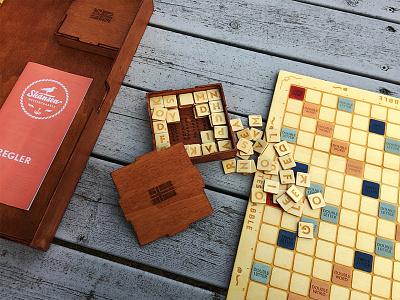Dribbble Scrabble design wood hand made laser cut board game scrabble