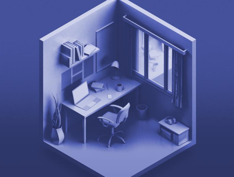 Workspace rendering workspace 3d models 3d modeling c4d office 3d artist 3d room room isometric isometric design 3d art 3d vector illustration