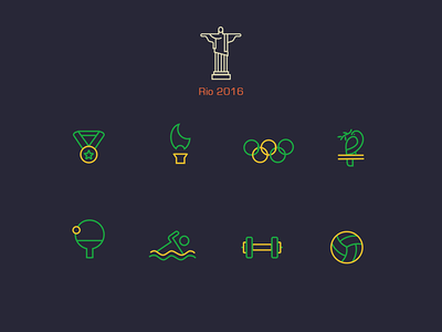 Rio 2016 Olympics line Icons olympics rio free psd