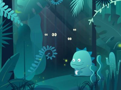 Jungle and monster tropical forest green illustration monster plant jungle