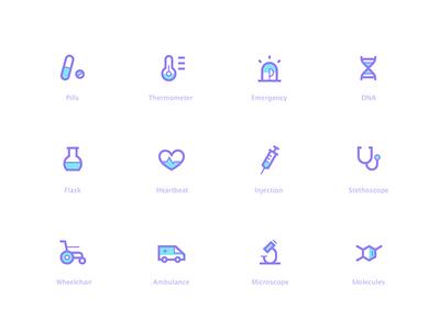 Medical Icon Set stroke tones two icon medical