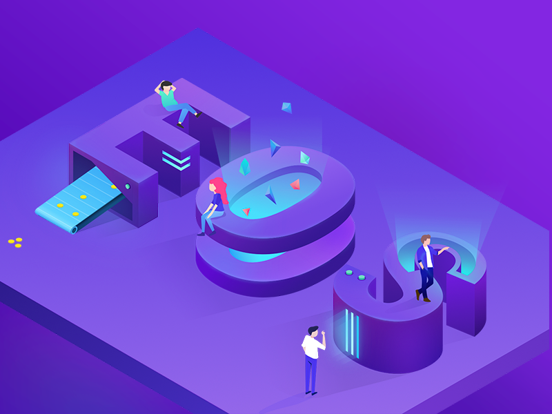 EOS-cryptocurrency illustration isometric cryptocurrency eos