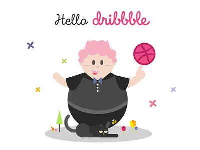 Hello Dribbble! 1st shot of dribbble debut character illustration