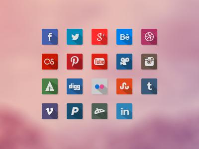 Freebies - 19 Awesome Flat Icon's flat ui icon social web psd freebies icons