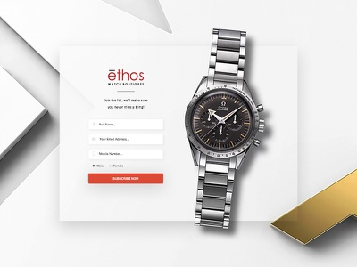 Signup Form - Daily UI challenge #03 watches ux ui social signup popup overlay omega newsletter interface input fhokestudio