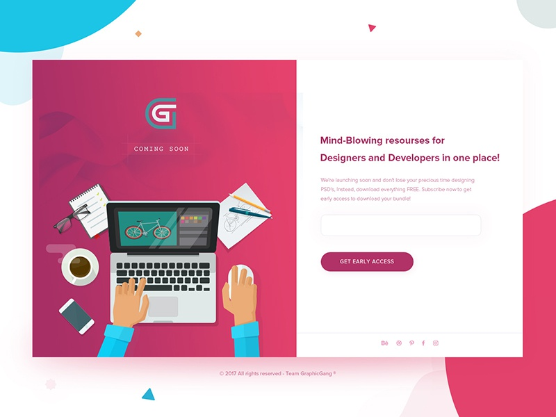 Coming Soon - Daily UI challenge #04 website webdesign ui subscribe screen photo landing page colors freebies fhokestudio graphicgang coming soon