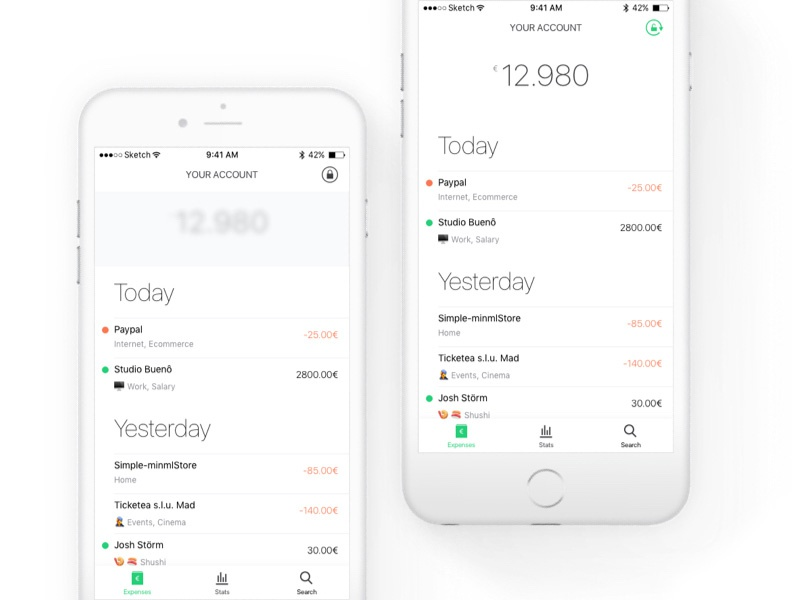 Fintech App - Home UI & UX pattern money blur ux ui expenses minimal fintech financial privacy banking bank app