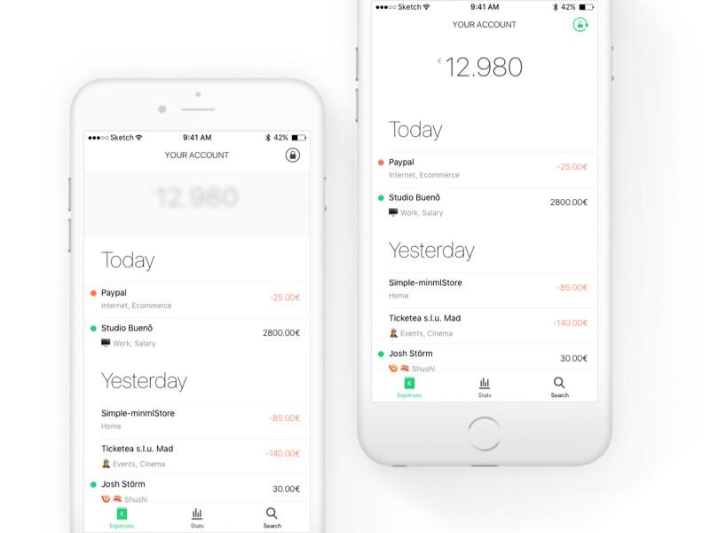 Fintech App - Home UI & UX pattern money blur ux ui expenses minimal fintech financial privacy banking bank app
