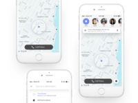 Companion App - Research and design explorations transportation track simple security safe research rebrand minimal map ios friends app